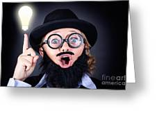 Mad Professor With Light Bulb Breakthrough Greeting Card
