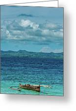 Madagascar, Nosy Be, Small Boat In Sea Greeting Card