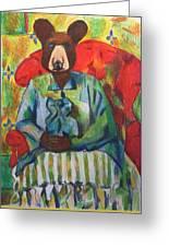 Madame Bear In A Chair Greeting Card