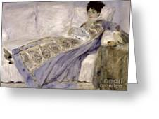 Madame Monet On A Sofa Greeting Card by Pierre Auguste Renoir