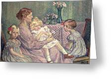 Madame Van De Velde And Her Children Greeting Card by Theo van Rysselberghe