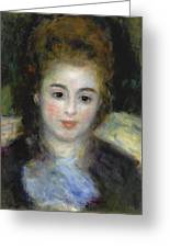 Mademoiselle Henriot Or Young Girl With A Blue Ribbon Greeting Card