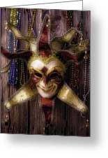 Madi Gras Mask And Beads Greeting Card