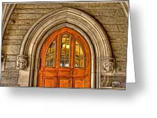 Madison Hall Rockefeller College Princeton University Gothic Door Greeting Card