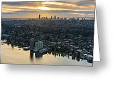 Madison Park And The Seattle Skyline Greeting Card