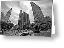 Madison Square Flatiron And Clock Tower New York Ny Black And White Greeting Card