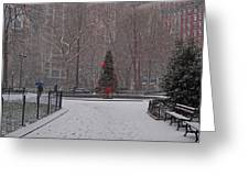 Madison Square Park In The Snow At Christmas Greeting Card