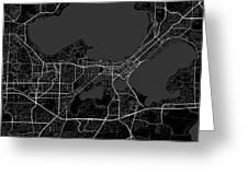 Madison Wisconsin Usa Dark Map Greeting Card