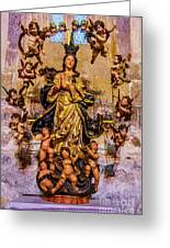 Madonna And Cherubs Greeting Card