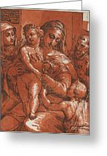 Madonna And Child Accompanied By Saints Greeting Card