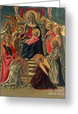Madonna And Child Enthroned With Angels And Saints Greeting Card