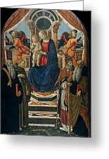 Madonna And Child Enthroned With Saints And Angels Greeting Card