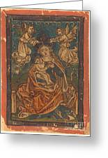 Madonna And Child Seated On A Grassy Bank With Angels Greeting Card