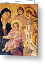 Madonna And Child Surrounded By Angels Greeting Card