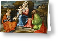 Madonna And Child With A Goldfinch With Saints Catherine And Paul Before An Extensive Landscape Greeting Card