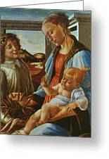 Madonna And Child With An Angel Greeting Card