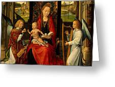 Madonna And Child With Angelsdetalj 5 Ngw Hans Memling Greeting Card