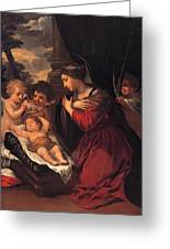 Madonna And Child With Child And Angles Greeting Card
