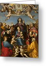 Madonna And Child With Saint Anne And The Patron Saints Of Florence Greeting Card