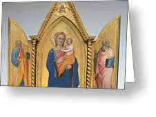 Madonna And Child With Saint Peter And Saint John The Evangelist [middle Panel] Greeting Card