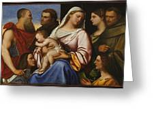 Madonna And Child With Saints And Donors Greeting Card