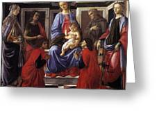 Madonna And Child With Six Saints Greeting Card