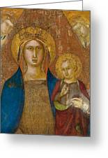 Madonna And Child With Two Angels Greeting Card