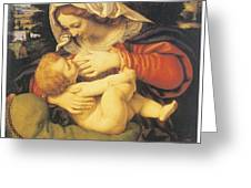 Madonna With The Green Cushion Greeting Card by Andrea Solari