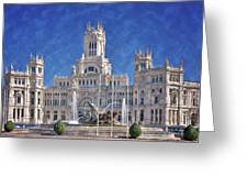 Madrid City Hall Greeting Card by Joan Carroll