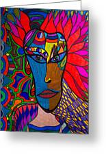 Magdalena On Fire - Mask - Abstract Face Greeting Card