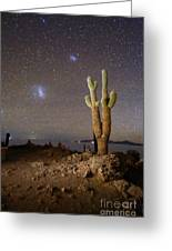 Magellanic Clouds And Forked Cactus Incahuasi Island Bolivia Greeting Card