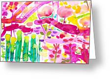 Magenta Garden In The Afternoon Greeting Card
