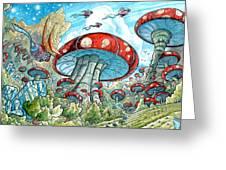 Magic Mushroom Forest Greeting Card