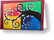 Magic Of Black With The Colourful Lake  Greeting Card