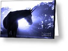 Magic Unicorn In Blue Greeting Card