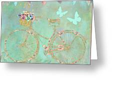 Magical Bicycle Tour Enchanted Happy Art Greeting Card