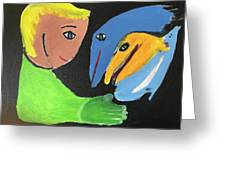 Magical Encounter Between A Boy And Creatures Of The Sea Greeting Card