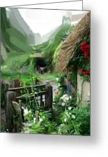 Magical English Mountain Cottage 2 Greeting Card