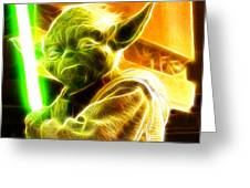 Magical Yoda Greeting Card by Paul Van Scott