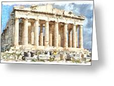 Magnificent Acropolis In Athens Greeting Card