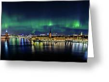 Magnificent Aurora Dancing Over Stockholm Greeting Card