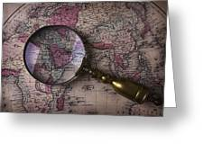 Magnifying  Glass On Old Map Greeting Card
