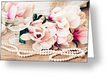 Magnolia Flowers With Pearls Greeting Card