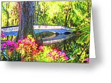 Magnolia Gardens Bridge Greeting Card