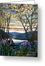 Magnolias And Irises Greeting Card