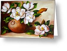 Magnolias In A Clay Pot Greeting Card