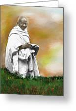Mahatma Ghandi Greeting Card by C A Soto Aguirre