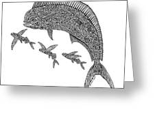 Mahi With Flying Fish Greeting Card