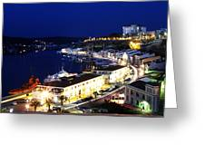 Mahon Harbour At Night Greeting Card