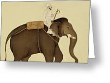 Mahout Riding An Elephant Painting - 18th Century Greeting Card